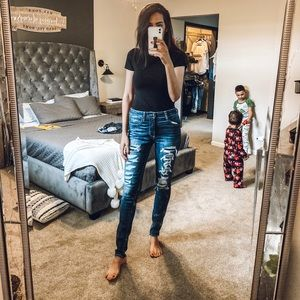 American Eagle Distressed jeans with patches